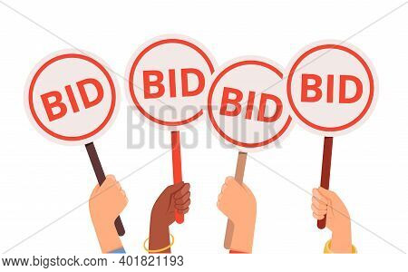 Bidding Process. Auction Paddles, Flat Hand Holding Plates. Finance Or Business, Special Offer Vecto
