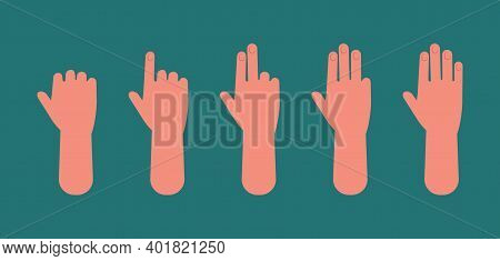 Hand Count. One To Five Fingers, Arm Showing Sign. Preschool Children Education Vector Concept. Illu