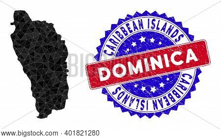 Dominica Island Map Polygonal Mesh With Filled Triangles, And Rubber Bicolor Stamp Print. Triangle M