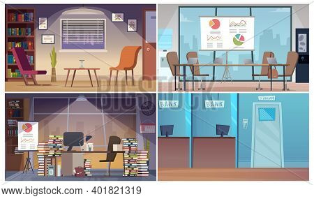 Office Interiors. Different Company, Home Work Place, Business Center Areas Vector Set. Illustration