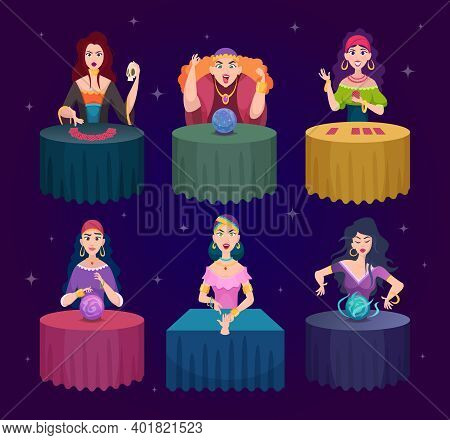 Fortune Tellers. Magician Witches With Fairytale Crystal Magic Balls Exact Vector Characters. Illust