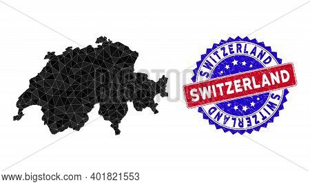 Switzerland Map Polygonal Mesh With Filled Triangles, And Textured Bicolor Seal. Triangle Mosaic Swi