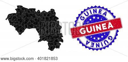 African Guinea Map Polygonal Mesh With Filled Triangles, And Textured Bicolor Stamp Imitation. Trian