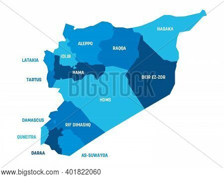 Blue Political Map Of Syria. Administrative Divisions - Governorates. Simple Flat Vector Map With La