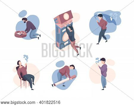 Smokers People. Unhealthy Organs Of Smoker Characters Concept Illustrations Garish Vector Addicted P