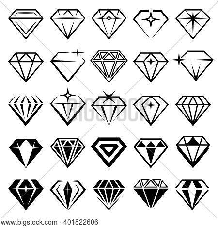 Jewelry Set. Stylized Diamonds Collection Recent Vector Black Symbols. Diamond Stylized, Jewelry Lux