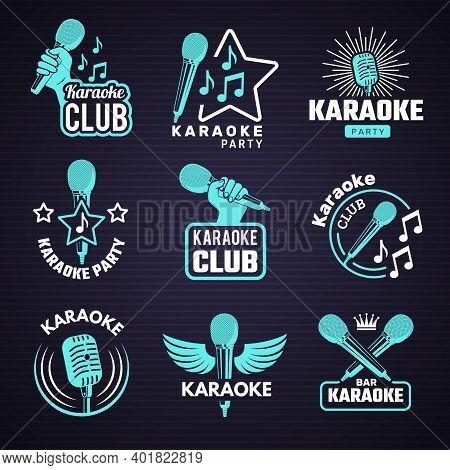 Karaoke Badges. Emblem For Music Studio Microphone Radio Vinyl Symbols Recent Vector Logos. Karaoke