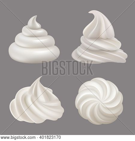 Whipped Cream. Delicious Liquid Food Ingredients For Cooking Cakes Cream Swirls Decent Vector Realis