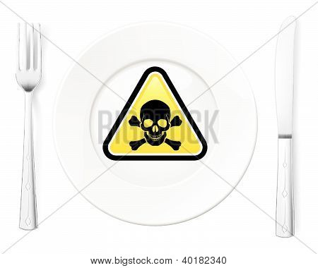 Dangerous food symbol represented by a Fork and Knife with a Plate and a graphic of a Poison sign poster