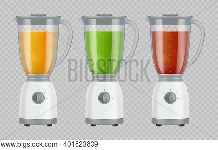 Juicer With Juice. Smoothie Mixer Kitchen Appliances Liquid Beverage Food Preparing Blender Decent V