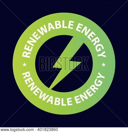 Renewable Energy Green Color Vector Stamp Isolated On Dark Background