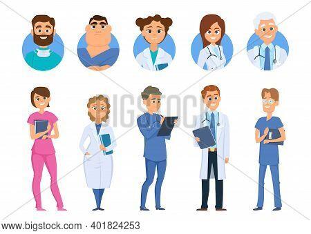 Doctors Characters. Nurse Medical Staff Avatars, Isolated Cartoon Hospital Team Vector Set. Illustra