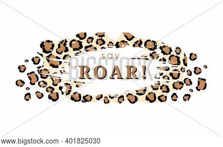 Say Roar Tiger Skin Tracery Background. Yellow