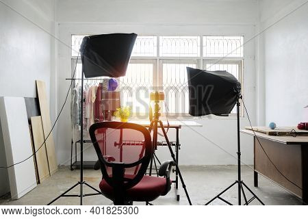 Photo Studio Concept. There Are Equipment Used To Work. The Softbox Is A Necessary Device. As A Ligh