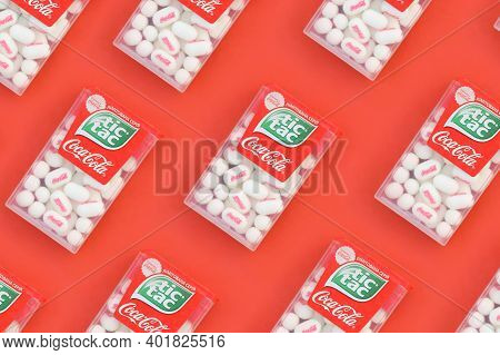 Kharkov, Ukraine - October 17, 2020: Many Tic Tac Candy Packages With Coca-cola Taste. Tic Tac Is Po
