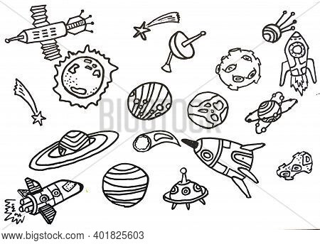 Drawing About Science Concept. Rockets, Meteorites, Stars, Stars, Korah, To Be Used As Advertising M