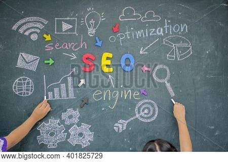 Seo Search Engine Optimization Concept. The Plasticine Molding That Was Molded Into The Seo Alphabet