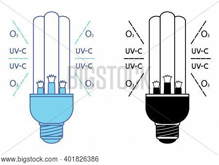 Ultraviolet Bactericidal Lamp With Double Sterilized By Ultraviolet And Ozone. Ultraviolet Light Ste