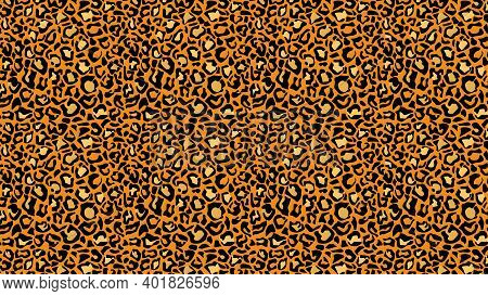Leopard Leather Tracery Background. Yellow Panther Spots