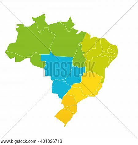 Colorful Blank Political Map Of Brazil. States Divide By Color Into 5 Regions . Simple Flat Vector M
