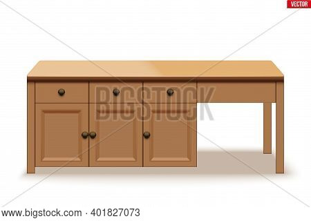 Kitchen Island Table. Modern Domestic Table With Drawers. Big Wooden Table For Family Meal And Brunc