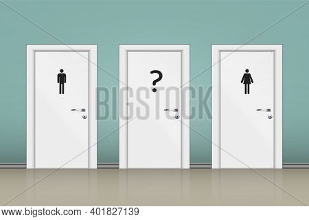 Toilets Wc With Three Gender Sign. Toilet Sign Concept With Question Mark For Undecided Gender. Vect