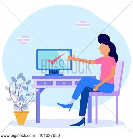 Modern Vector Illustration. Happy Businesswomen Complete Tasks And Win By Pointing At The Computer.