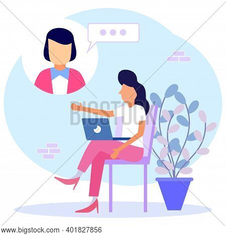 Modern Vector Illustration. Young Women Use Laptops For Video Calls With Colleagues Or Colleagues. F