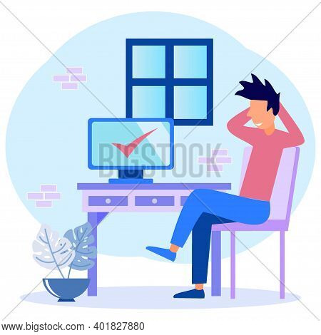 Modern Vector Illustration. Happy Businessmen Complete Tasks And Win By Pointing At The Computer. Jo