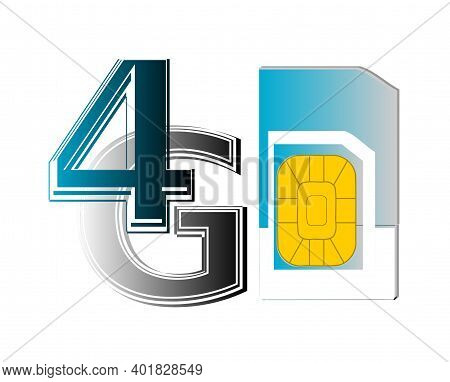 Clip Art Of 4g Sim Card In Blue Color. Isolated 4g Network Icon On White Background.