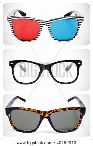 collage of some different retro-styled eyeglasses, such as 3D glasses, lenses and sunglasses