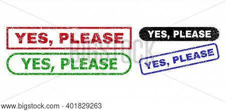 Yes, Please Grunge Stamps. Flat Vector Textured Stamps With Yes, Please Tag Inside Different Rectang
