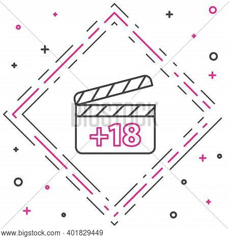 Line Movie Clapper With 18 Plus Content Icon Isolated On White Background. Age Restriction Symbol. A