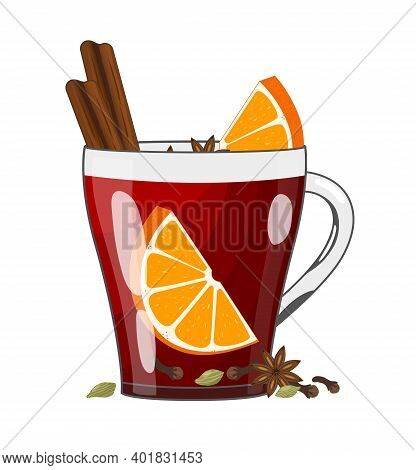 Red Mulled Wine With Spices And Fruits In Glass Cup, Vector Illustration In Flat Style. Traditional