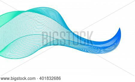 Abstract Backdrop With Colorful Wave Gradient Lines On White Background. Modern Technology Backgroun