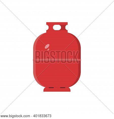 Red Gas Tank Icon. Propane, Butane, Methane Baloon. Vector Illustration