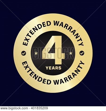 Four Year Extended Warranty  Golden Illustration, 4 Year Extended Warranty Vector Illustration