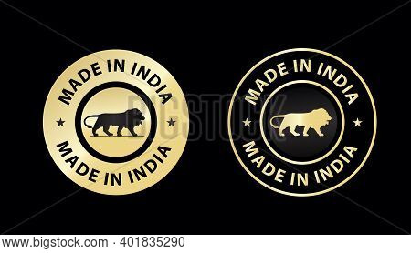 Made In India Icon Vector Illustration, Made In India Golden Color Emblem, Design Element For Packag