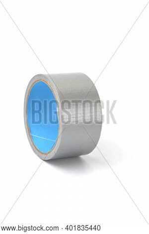 Waterproof Reinforced Adhesive Tpl Tape, Gray Color With A Metallic Sheen, Isolated Image. Tpl Tape