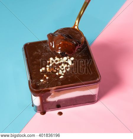 Dessert Box With White Chocolate In Pink And Blue Background.