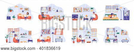 People Stay At Home Scenes Bundle With People Characters. Men And Women Working At Home Remotely Dur