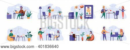 Support Service Scenes Bundle With People Characters. Customer Support Operator With Hands-free Head