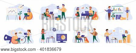 Marketing Strategy Bundle With People Characters. Marketing Department Teamwork, Research And Presen