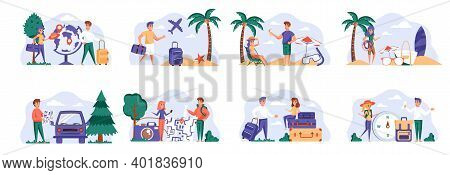 Travel Vacation Scenes Bundle With People Characters. Tourists Hiking With Backpacks, Young Couple R