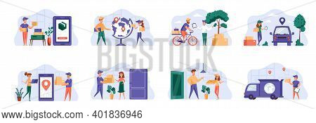 Delivery Scenes Bundle With People Characters. Online Pizza Ordering, Bicycle Courier Delivery At Ho