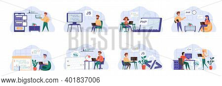 Programming Scenes Bundle With People Characters. Frontend And Backend Developers Team Working In Of