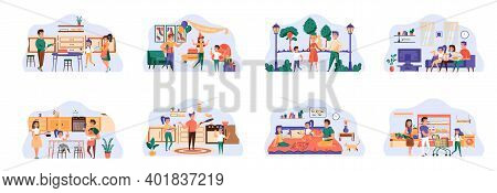 Family Bundle Of Scenes With Flat People Characters. Happy Family Spend Time Together Conceptual Sit