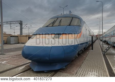 Russia, Saint Petersburg, Museum Of Railways Of Russia, February 2020: Selective Focus The Fastest H