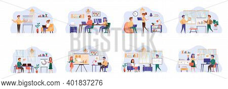 Content Management Bundle Of Scenes With Flat People Characters. Web Managers Work In Office Concept