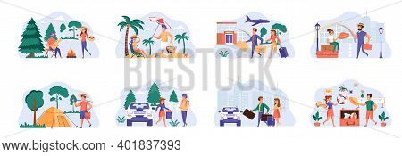 Travel Vacation Bundle Of Scenes With People Characters. Couple With Luggage Boarding In Airport Sit